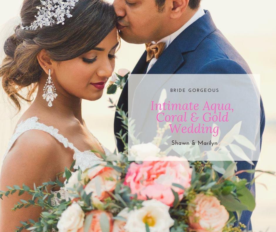 An Itimate Aqua, Coral & Gold Wedding